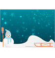 snowman with cute broom vector image