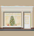 storefront with showcase decorated for christmas vector image vector image