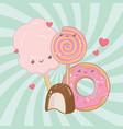 sweet cotton sugar and candies kawaii characters vector image vector image