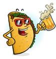 Taco cartoon character drinking beer