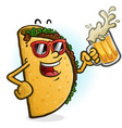 taco cartoon character drinking beer vector image vector image