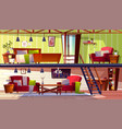 two storey loft rooms interior vector image