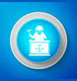 White judge with gavel on table icon