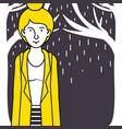 woman walking in the rain vector image