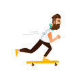 cartoon hipster skateboarding vector image