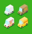 Cartoon Isometric Minivans vector image