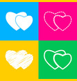 two hearts sign four styles of icon on four color vector image