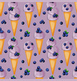 blueberry icecream in a cone with berries seamless vector image