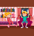 boy and girl playing in bedroom vector image vector image