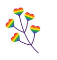 branch with hearts gay pride hand draw style vector image vector image