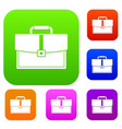 business briefcase set color collection vector image vector image