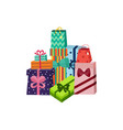 cartoon present gift box ribbon bow pile vector image vector image