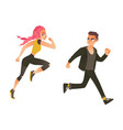 cartoon ranaway people set vector image vector image