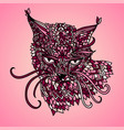 cat in mandala pattern style zentagle pink vector image vector image