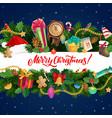 christmas gifts stocking and bell xmas garland vector image vector image