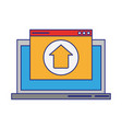 computer with upload sign vector image vector image