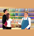 couple choosing paint vector image vector image