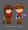 cowgirl and cowboy western vector image