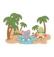 cute animals enjoying summer vacations vector image vector image
