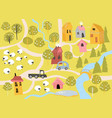 cute little village with blossom trees in cartoon vector image vector image