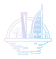 dubai cityscape cartoon neon lines vector image vector image