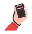 hand holding radio recorder with buttons vector image vector image