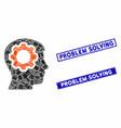human mind gear mosaic and distress rectangle vector image vector image