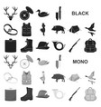 hunting and trophy black icons in set collection vector image vector image