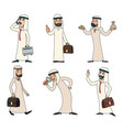 lineart arab businessman character icons set retro vector image vector image