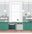 modern kitchen interior with new oven and vector image vector image