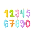 numbers candles isolated vector image vector image