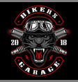 panther biker with spark plugs vector image vector image