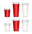 paper coffee cup white plastic lid disposable cup vector image vector image