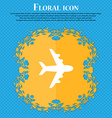 Plane icon sign Floral flat design on a blue vector image