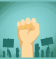 raised hand with fist demonstration and protest vector image vector image