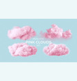 realistic pink fluffy clouds set isolated on vector image