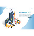 recovery data website landing page design vector image