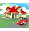 Red car and home vector image vector image