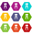 retro chair icons set 9 vector image vector image