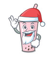 santa raspberry bubble tea character cartoon vector image vector image