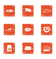 sausage icons set grunge style vector image vector image