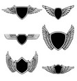 set of emblems with wings isolated on white vector image