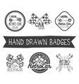 set of hand drawn retro car labels in vector image vector image