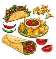Set of traditional Mexican food - burrito taco vector image vector image