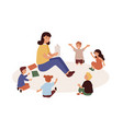 smiling kindergarten teacher and kids flat vector image vector image