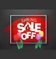 spring sale off banner with color tulips vector image vector image