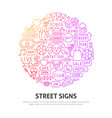 street signs circle concept vector image vector image