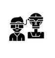 virtual artificial intelligence black icon vector image vector image