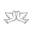 wedding doves line icon vector image vector image