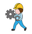 worker holding gears tool vector image